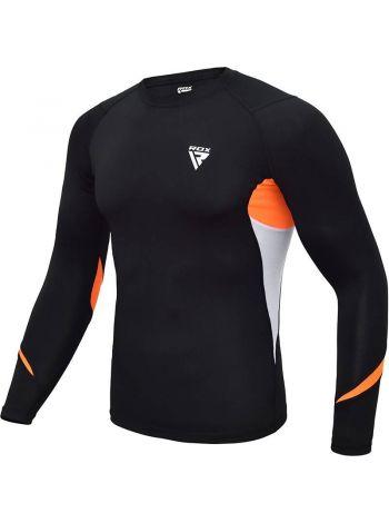 Рашгард с длинным рукавом RDX MMA Compression Base Layer черно-оранжевый