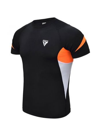 Рашгард с коротким рукавом RDX MMA Compression Base Layer черно-оранжевый