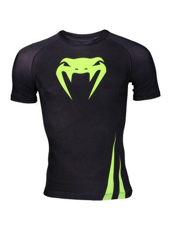 Рашгард с коротким рукавом Venum черно-зеленый