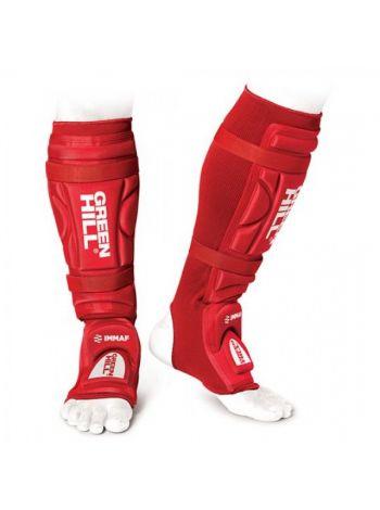Защита голени и стопы Green Hill MMA SHINPAD IMMAF APPROVED красная