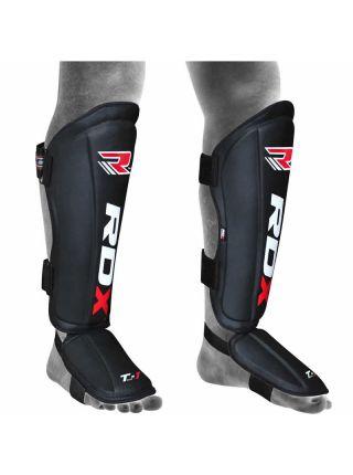 Защита голени и стопы RDX Leather MMA черная