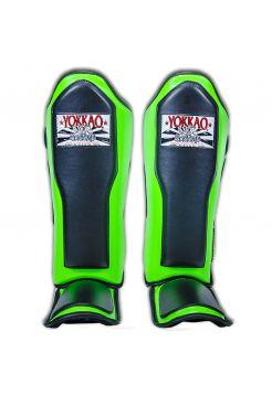 Защита голени и стопы Yokkao Double Impact черно-зеленая
