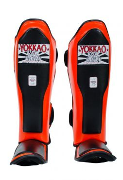 Защита голени и стопы Yokkao Double Impact черно-оранжевая