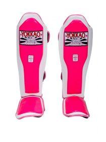 Защита голени и стопы Yokkao Double Impact бело-розовая