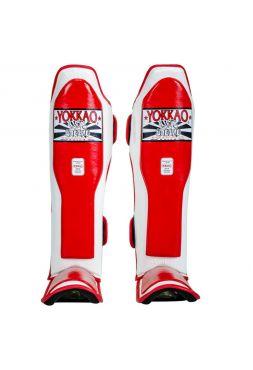 Защита голени и стопы Yokkao Double Impact бело-красная