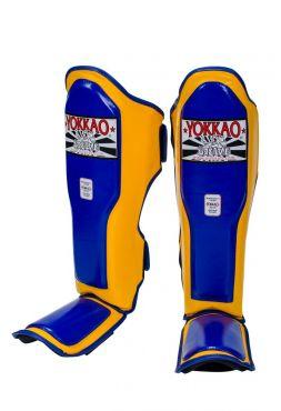 Защита голени и стопы Yokkao Double Impact желто-синяя