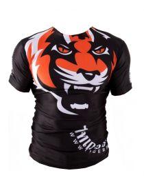 Рашгард с коротким рукавом Tiger Muay Thai MMA черно-оранжевый