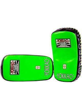 Тайские пады Yokkao Curved Kicking Pads зеленые