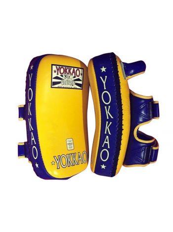 Тайские пады Yokkao Curved Kicking Pads желто-синие