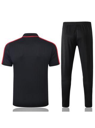 Мужской тренировочный костюм черно-красный ФК Атлетико Мадрид с поло