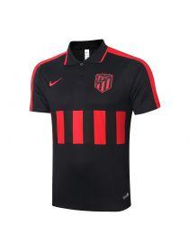 Мужское спортивное поло черное с красными полосами ФК Атлетико Мадрид
