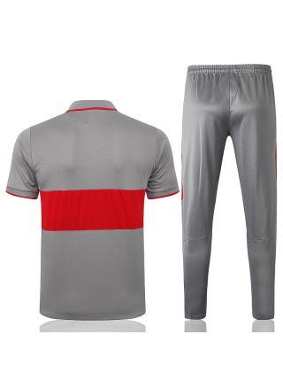 Мужской тренировочный костюм серо-красный ФК Атлетико Мадрид с поло