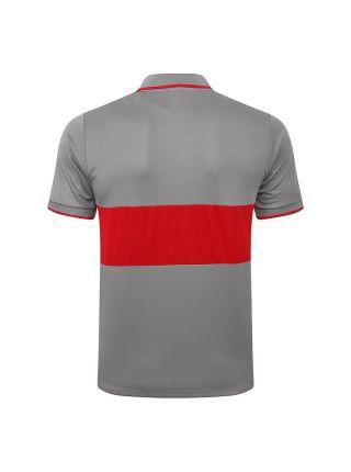 Мужское спортивное поло серое с красной полосой ФК Атлетико Мадрид