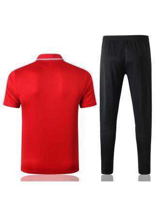 Мужской тренировочный костюм красно-черный с белыми полосами ФК Атлетико Мадрид с поло