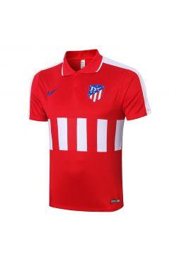 Мужское спортивное поло красное с белыми полосами ФК Атлетико Мадрид