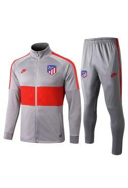 Спортивный костюм серый с красными полосами Атлетико Мадрид с молнией