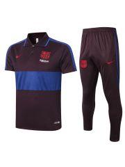 Мужской тренировочный костюм коричнево-синий ФК Барселона с поло