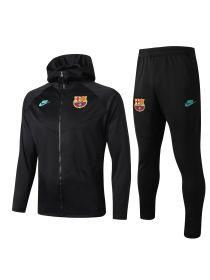 Спортивный костюм черный Барселона с капюшоном