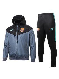 Спортивный костюм серо-черный Барселона с капюшоном