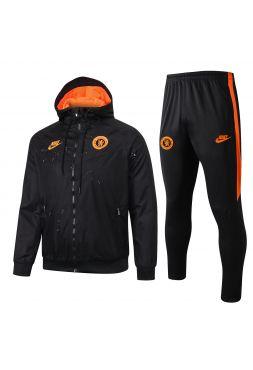 Спортивный костюм черно-оранжевый Челси с капюшоном