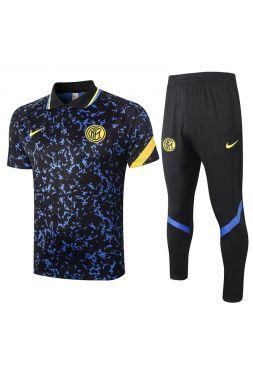 Мужской тренировочный костюм черно-синий ФК Интер Милан с поло