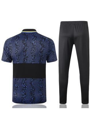 Мужской тренировочный костюм черно-синий с принтом ФК Интер Милан с поло
