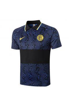 Мужское спортивное поло синее с черной полосой ФК Интер Милан