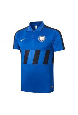 Мужское спортивное поло синее с черными полосами ФК Интер Милан