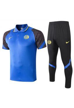 Мужской тренировочный костюм сине-серый с черными штанами ФК Интер Милан с поло