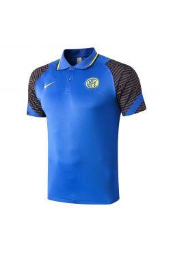 Мужское спортивное поло синее с серыми рукавами ФК Интер Милан
