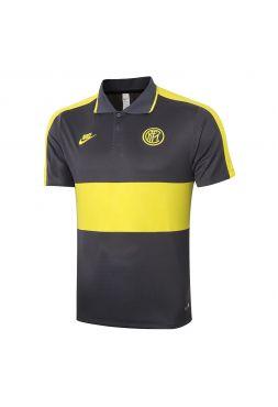 Мужское спортивное поло серое с желтой полосой ФК Интер Милан