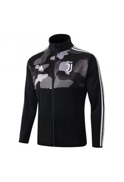 Мужская спортивная олимпийка черная с серым рисунком ФК Ювентус