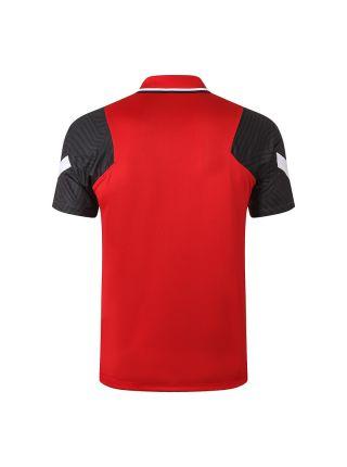 Мужское спортивное поло красное с черными рукавами ФК Ливерпуль