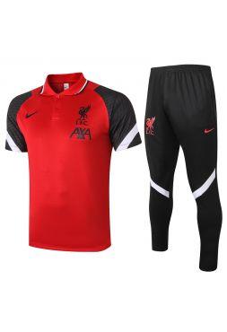 Мужской тренировочный костюм красно-черный ФК Ливерпуль с поло