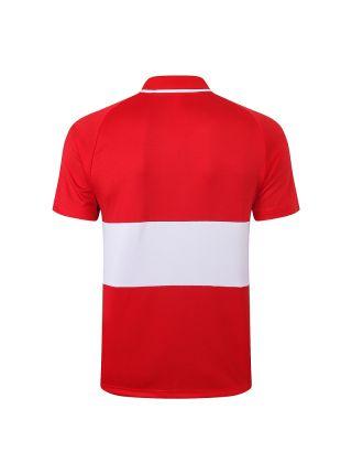 Мужское спортивное поло красное с белой полосой ФК Ливерпуль