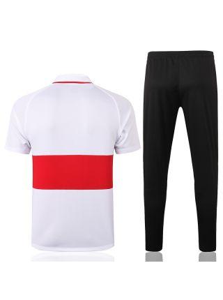 Мужской тренировочный костюм красно-белый с черными штанами ФК Ливерпуль с поло