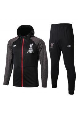 Спортивный костюм черно-серый Ливерпуль с капюшоном
