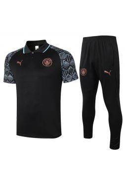 Мужской тренировочный костюм черный с мятным принтом ФК Манчестер Сити с поло