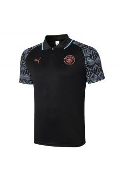Мужское спортивное поло черное с мятным орнаментом ФК Манчестер Сити