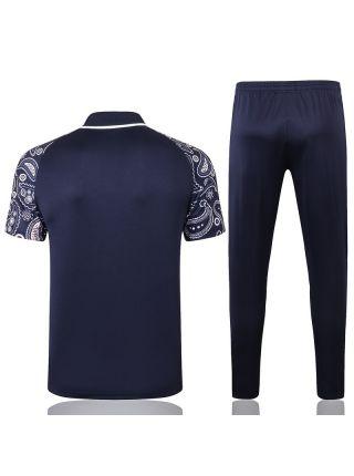 Мужской тренировочный костюм темно-синий с белым принтом ФК Манчестер Сити с поло