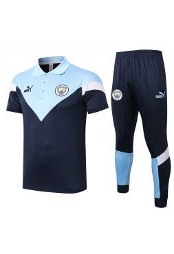 Мужской тренировочный костюм сине-голубой ФК Манчестер Сити с поло