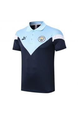 Мужское спортивное поло сине-голубое ФК Манчестер Сити