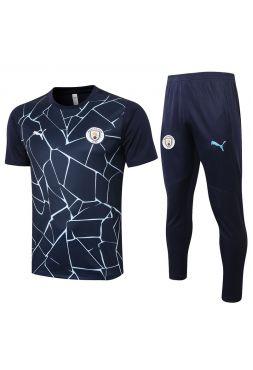 Мужской тренировочный костюм синий с голубым принтом ФК Манчестер Сити с поло