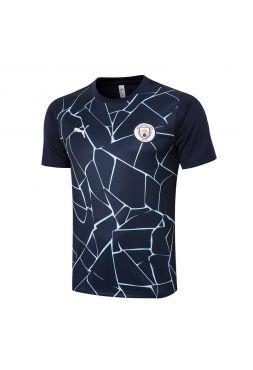 Мужское спортивное поло синее с голубым узором ФК Манчестер Сити