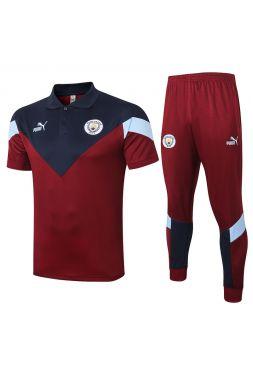 Мужской тренировочный костюм красно-синий ФК Манчестер Сити с поло