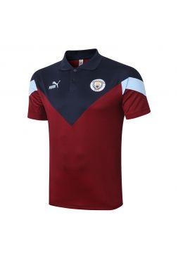 Мужское спортивное поло красно-синее ФК Манчестер Сити