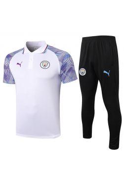 Мужской тренировочный костюм бело-черный ФК Манчестер Сити с поло