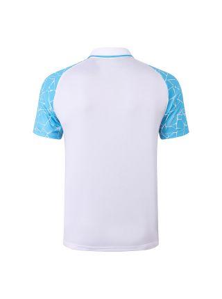 Мужское спортивное поло белое с голубыми рукавами ФК Манчестер Сити
