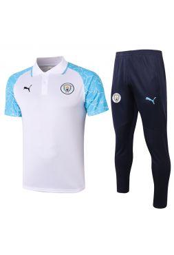 Мужской тренировочный костюм бело-синий ФК Манчестер Сити с поло