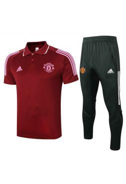 Мужской тренировочный костюм бордовый ФК Манчестер Юнайтед с поло